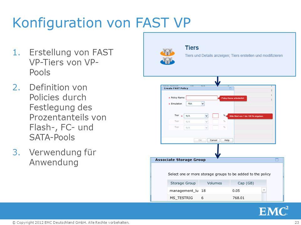 23© Copyright 2012 EMC Deutschland GmbH. Alle Rechte vorbehalten. Konfiguration von FAST VP 1.Erstellung von FAST VP-Tiers von VP- Pools 2.Definition