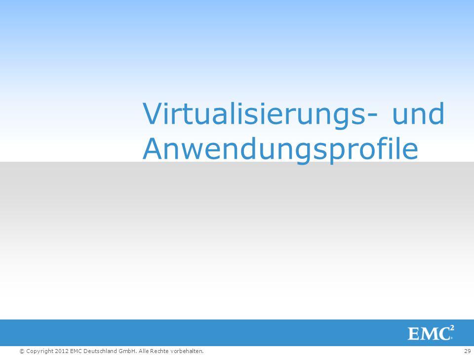 29© Copyright 2012 EMC Deutschland GmbH. Alle Rechte vorbehalten. Virtualisierungs- und Anwendungsprofile