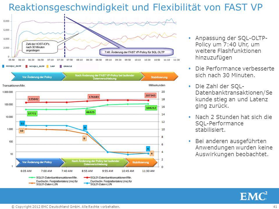 41© Copyright 2012 EMC Deutschland GmbH. Alle Rechte vorbehalten. Reaktionsgeschwindigkeit und Flexibilität von FAST VP  Anpassung der SQL-OLTP- Poli