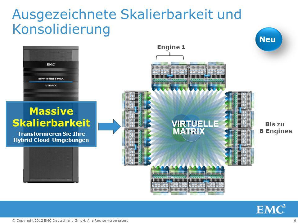 6© Copyright 2012 EMC Deutschland GmbH. Alle Rechte vorbehalten. Ausgezeichnete Skalierbarkeit und Konsolidierung Massive Skalierbarkeit Transformiere
