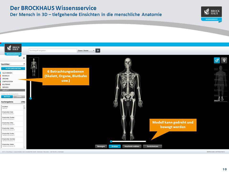 10 Der BROCKHAUS Wissensservice Der Mensch in 3D – tiefgehende Einsichten in die menschliche Anatomie 6 Betrachtungsebenen (Skelett, Organe, Blutbahn