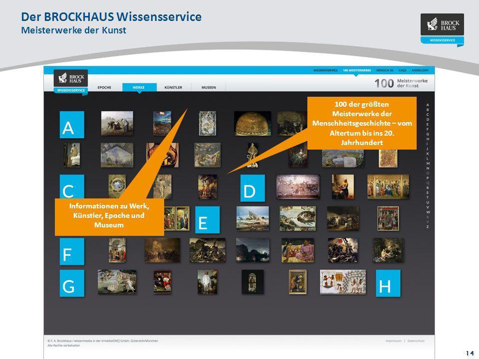 14 Zoom-In-Funktion schärft Blick für die Details: 4 bis 6 Hotspots auf den Kunstwerken mit zusätzlichen Informationen Der BROCKHAUS Wissensservice Me
