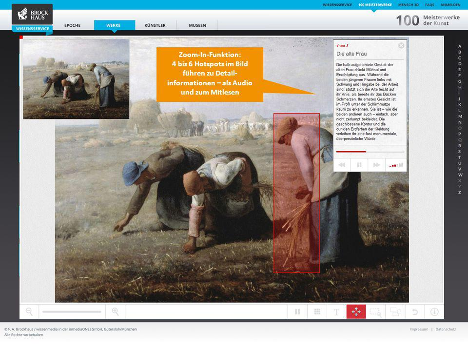 15 Der BROCKHAUS Wissensservice Jean-Francois Millet: Ährenleserinnen Musée d´Orsay, Paris Zoom-In-Funktion: 4 bis 6 Hotspots im Bild führen zu Detail