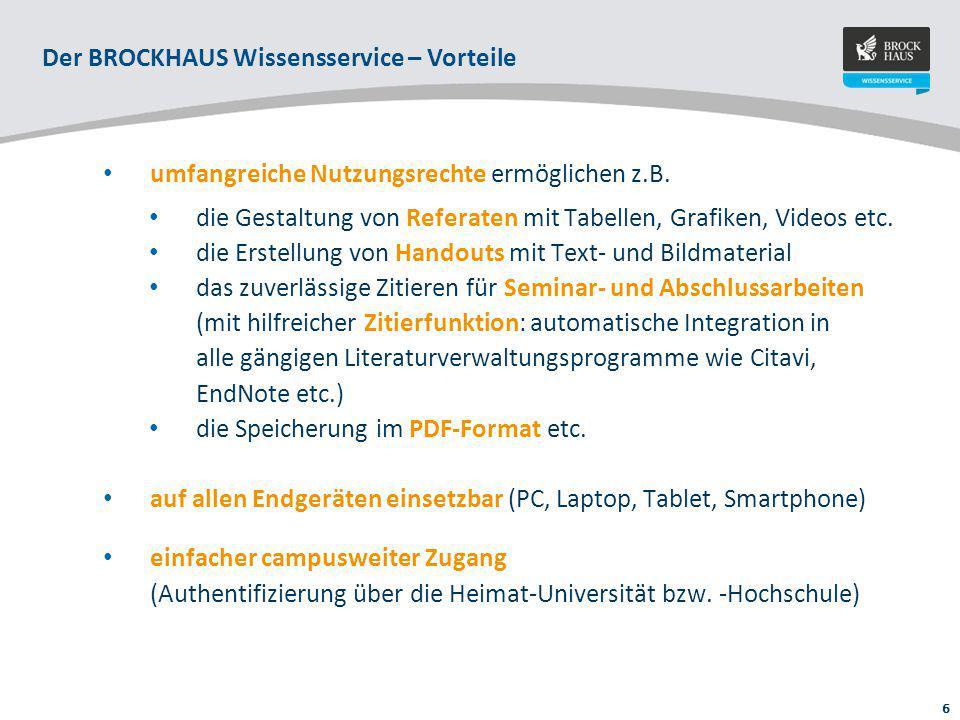 7 Der BROCKHAUS Wissensservice Intuitive Suche Zitieren, PDF, Drucken Medien: Bilder, Tabellen, Audios, Videos etc.