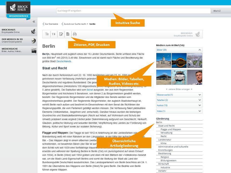 7 Der BROCKHAUS Wissensservice Intuitive Suche Zitieren, PDF, Drucken Medien: Bilder, Tabellen, Audios, Videos etc. Übersichtliche Artikelgliederung