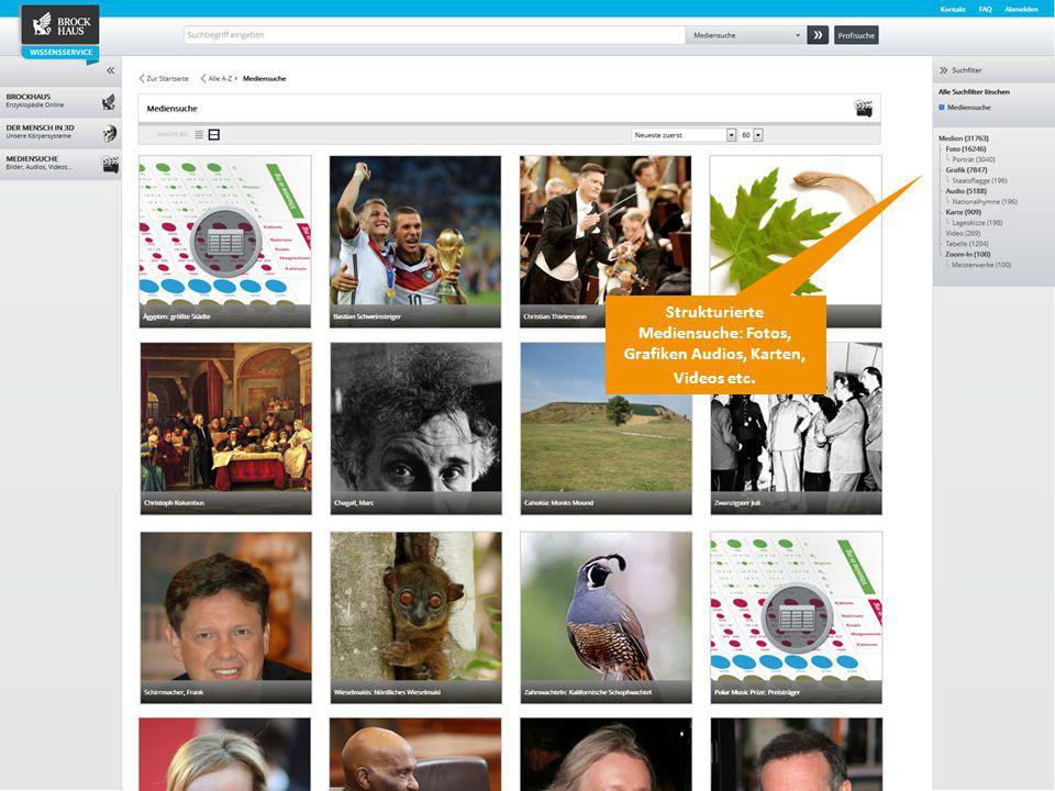 9 Der BROCKHAUS Wissensservice Strukturierte Mediensuche: Fotos, Grafiken Audios, Karten, Videos etc.