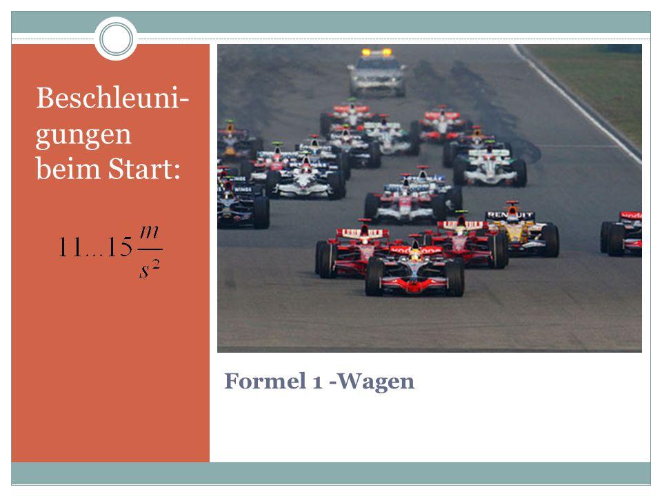 Formel 1 -Wagen Beschleuni- gungen beim Start: