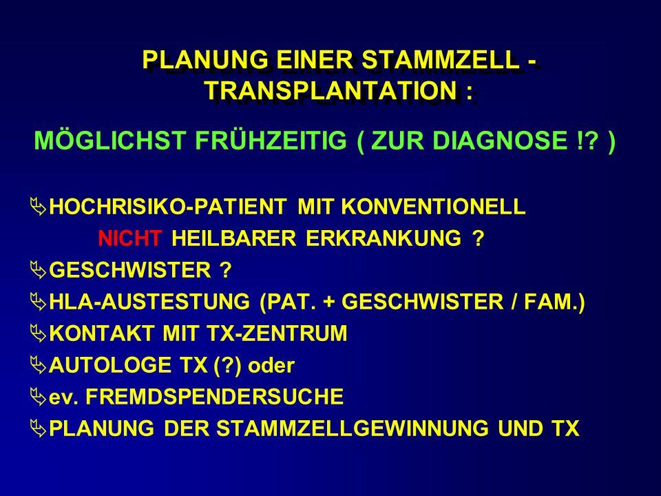 PLANUNG EINER STAMMZELL - TRANSPLANTATION : MÖGLICHST FRÜHZEITIG ( ZUR DIAGNOSE !? )  HOCHRISIKO-PATIENT MIT KONVENTIONELL NICHT HEILBARER ERKRANKUNG