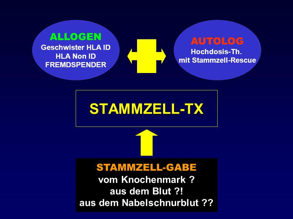STAMMZELL-TX ALLOGEN Geschwister HLA ID HLA Non ID FREMDSPENDER AUTOLOG Hochdosis-Th. mit Stammzell-Rescue STAMMZELL-GABE vom Knochenmark ? aus dem Bl