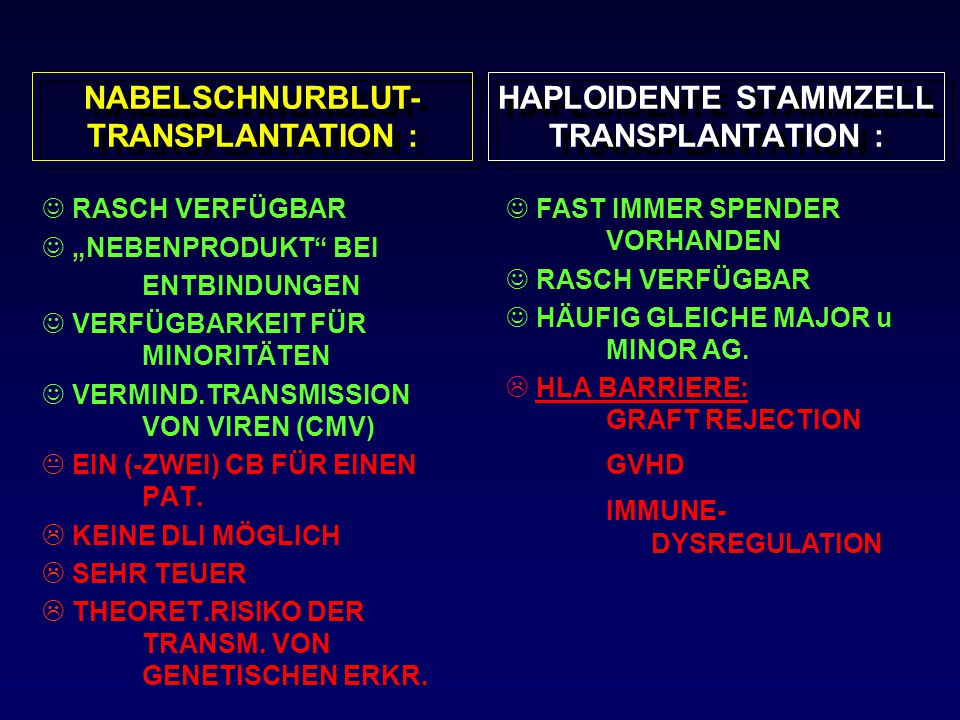"""HAPLOIDENTE STAMMZELL TRANSPLANTATION : RASCH VERFÜGBAR """"NEBENPRODUKT"""" BEI ENTBINDUNGEN VERFÜGBARKEIT FÜR MINORITÄTEN VERMIND.TRANSMISSION VON VIREN ("""