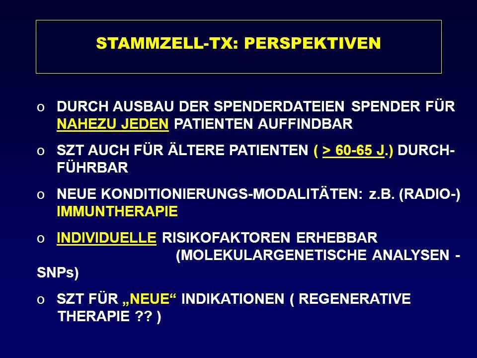 STAMMZELL-TX: PERSPEKTIVEN oDURCH AUSBAU DER SPENDERDATEIEN SPENDER FÜR NAHEZU JEDEN PATIENTEN AUFFINDBAR oSZT AUCH FÜR ÄLTERE PATIENTEN ( > 60-65 J.)