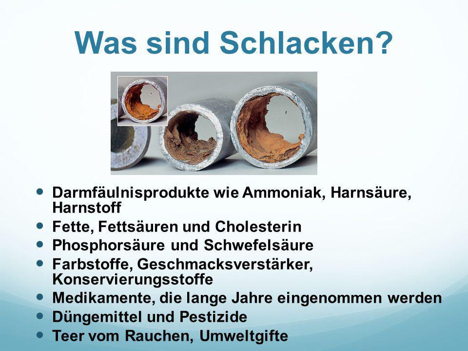 Was sind Schlacken? Darmfäulnisprodukte wie Ammoniak, Harnsäure, Harnstoff Fette, Fettsäuren und Cholesterin Phosphorsäure und Schwefelsäure Farbstoff