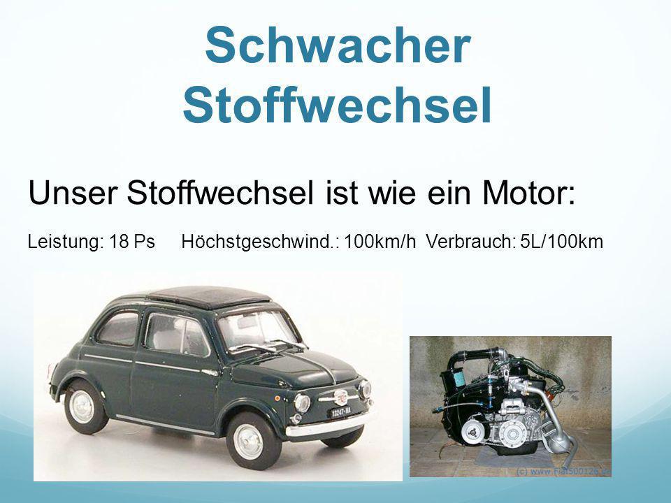 Schwacher Stoffwechsel Unser Stoffwechsel ist wie ein Motor: Leistung: 18 Ps Höchstgeschwind.: 100km/h Verbrauch: 5L/100km