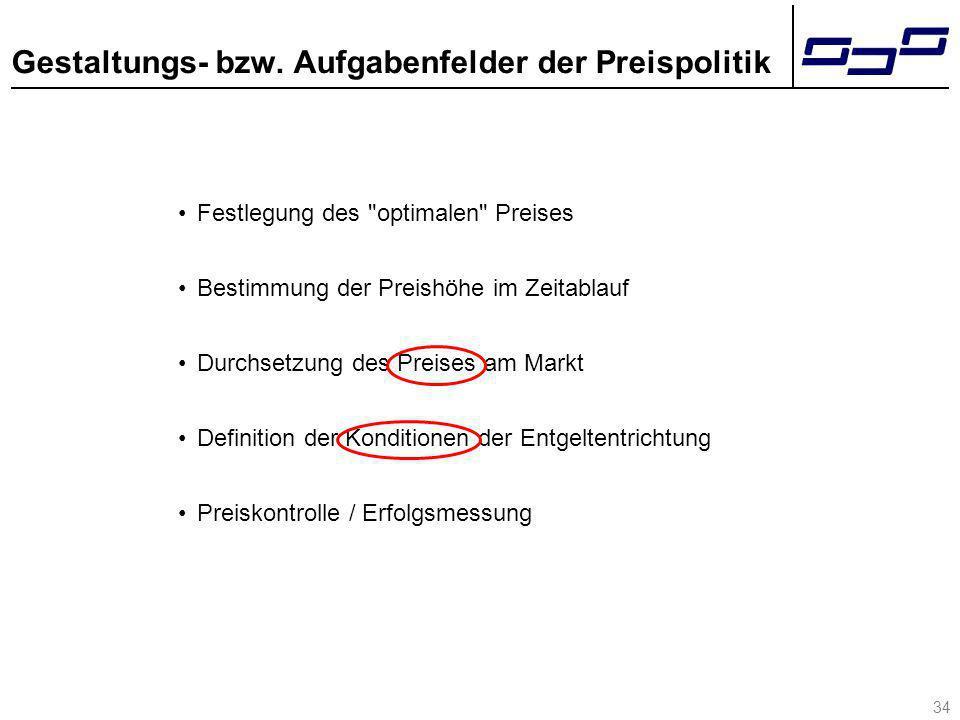 34 Gestaltungs- bzw. Aufgabenfelder der Preispolitik Festlegung des