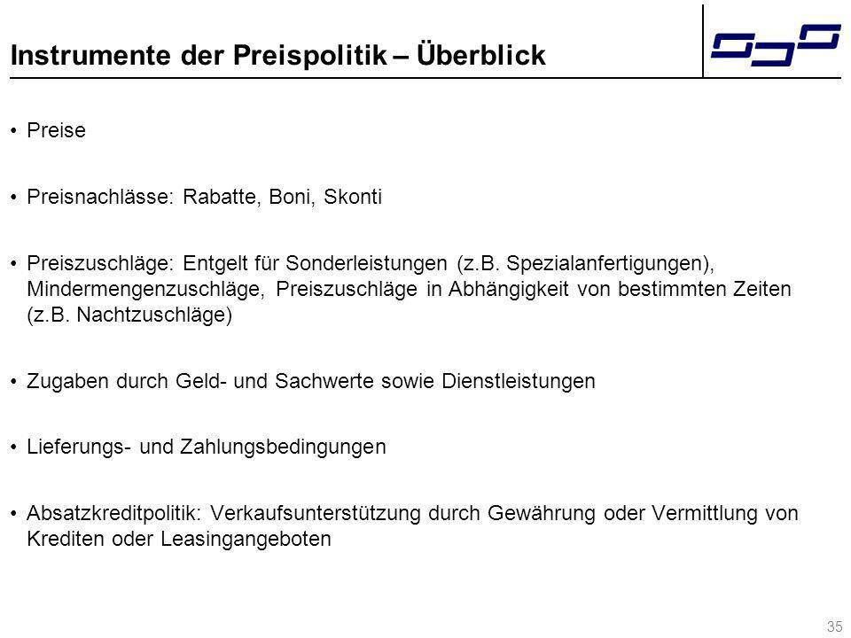 35 Instrumente der Preispolitik – Überblick Preise Preisnachlässe: Rabatte, Boni, Skonti Preiszuschläge: Entgelt für Sonderleistungen (z.B. Spezialanf
