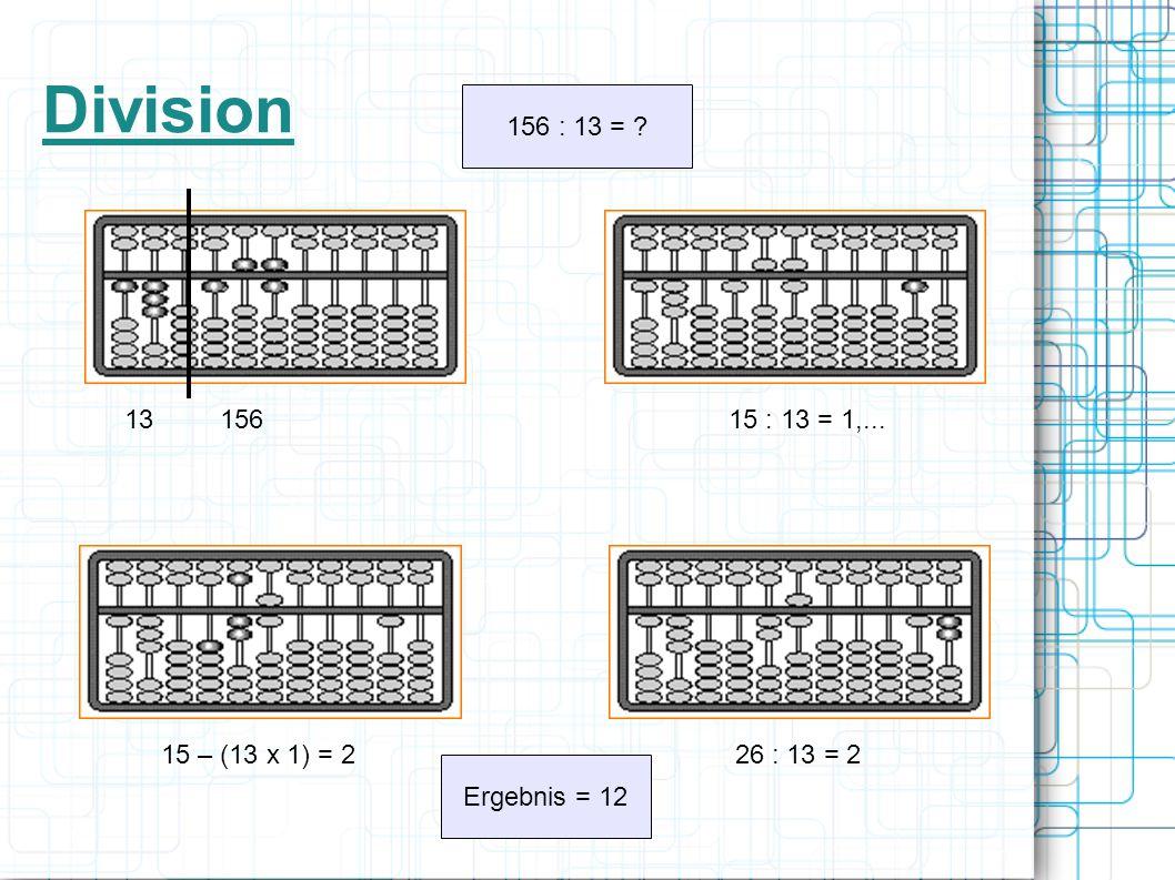 Division 156 : 13 = ? 13 156 15 : 13 = 1,... 15 – (13 x 1) = 2 26 : 13 = 2 Ergebnis = 12