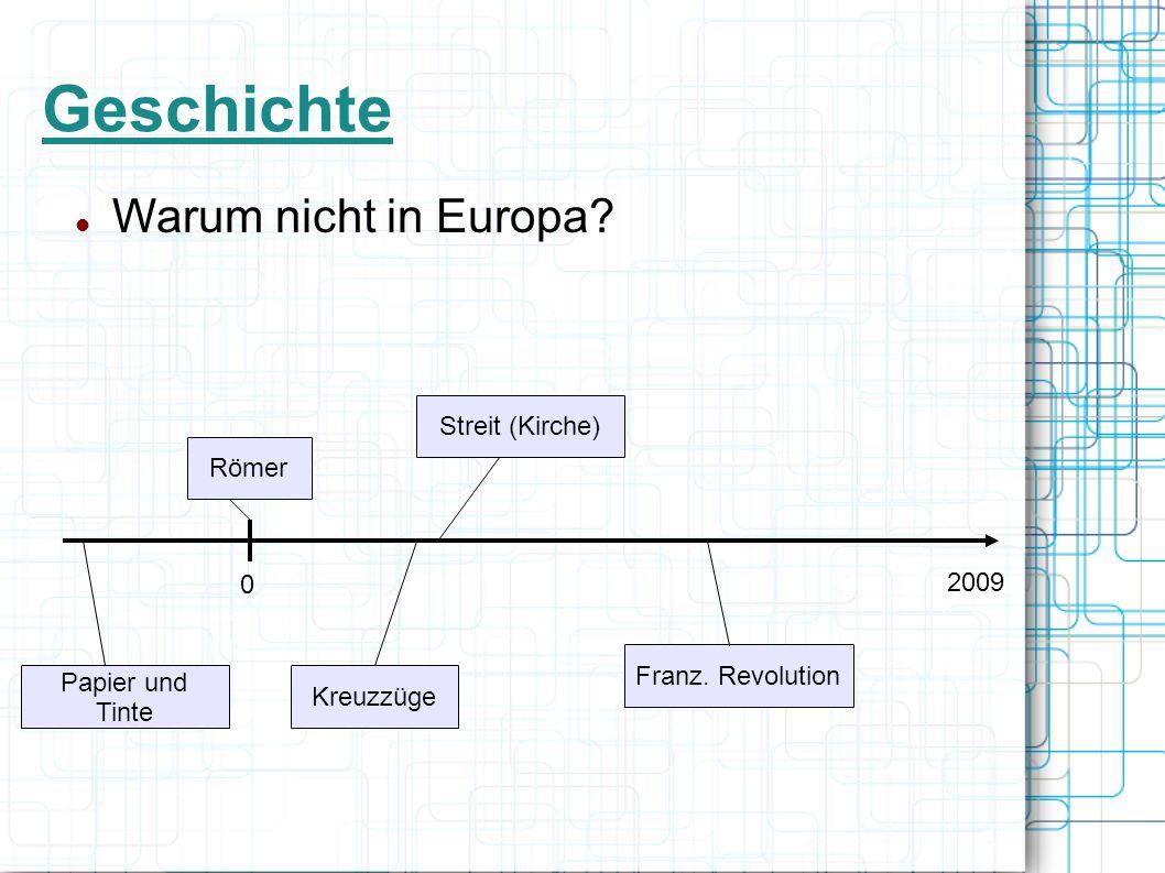 Geschichte Warum nicht in Europa.Papier und Tinte 0 2009 Römer Kreuzzüge Streit (Kirche) Franz.