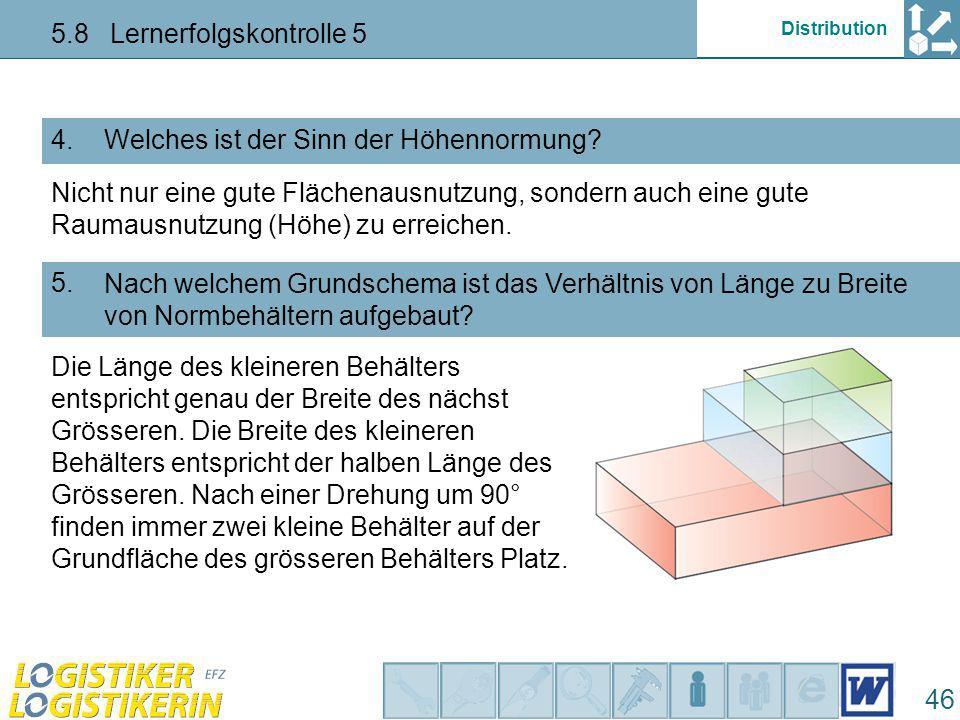 Distribution 5.8 Lernerfolgskontrolle 5 47 Wie nennt man die nebenstehend gezeichnete Ausgestaltung des Bodens eines Kunststoffbehälters.