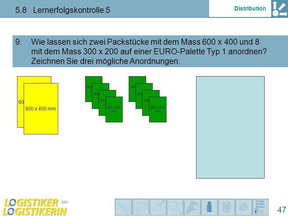 Distribution 5.8 Lernerfolgskontrolle 5 47 Wie lassen sich zwei Packstücke mit dem Mass 600 x 400 und 8 mit dem Mass 300 x 200 auf einer EURO-Palette
