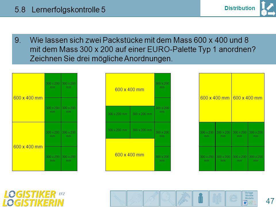 Distribution 5.8 Lernerfolgskontrolle 5 47 Wie lassen sich zwei Packstücke mit dem Mass 600 x 400 und 8 mit dem Mass 300 x 200 auf einer EURO-Palette Typ 1 anordnen.