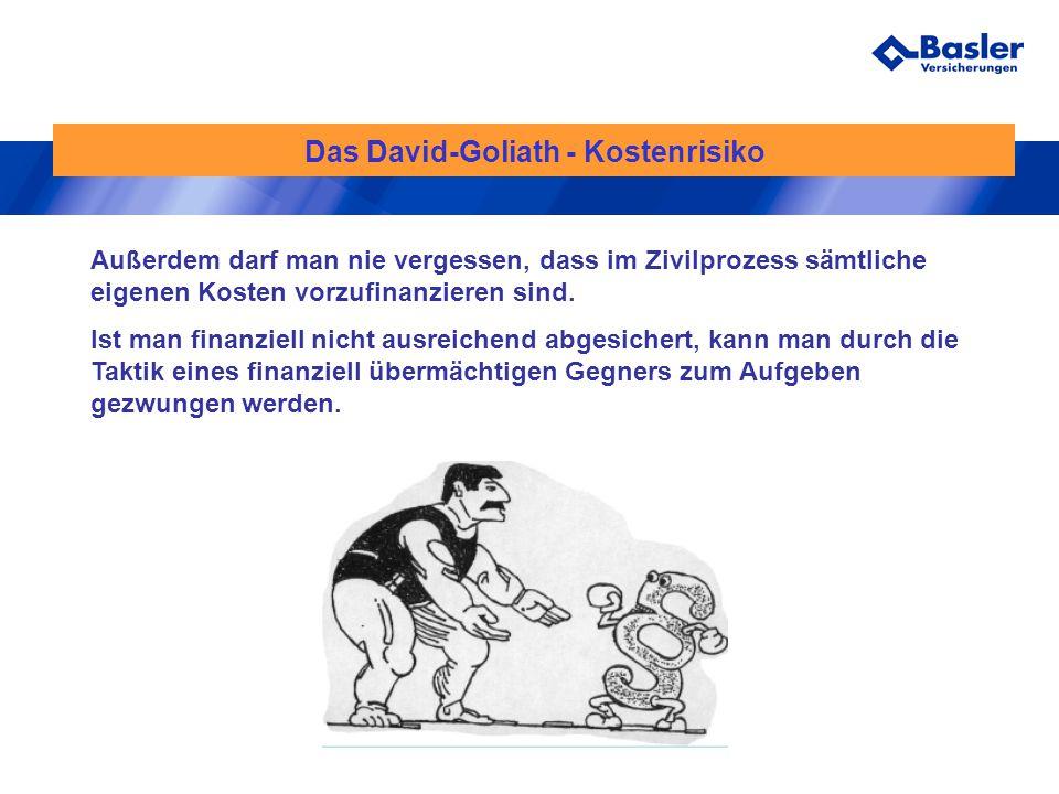 Das David-Goliath - Kostenrisiko Außerdem darf man nie vergessen, dass im Zivilprozess sämtliche eigenen Kosten vorzufinanzieren sind. Ist man finanzi