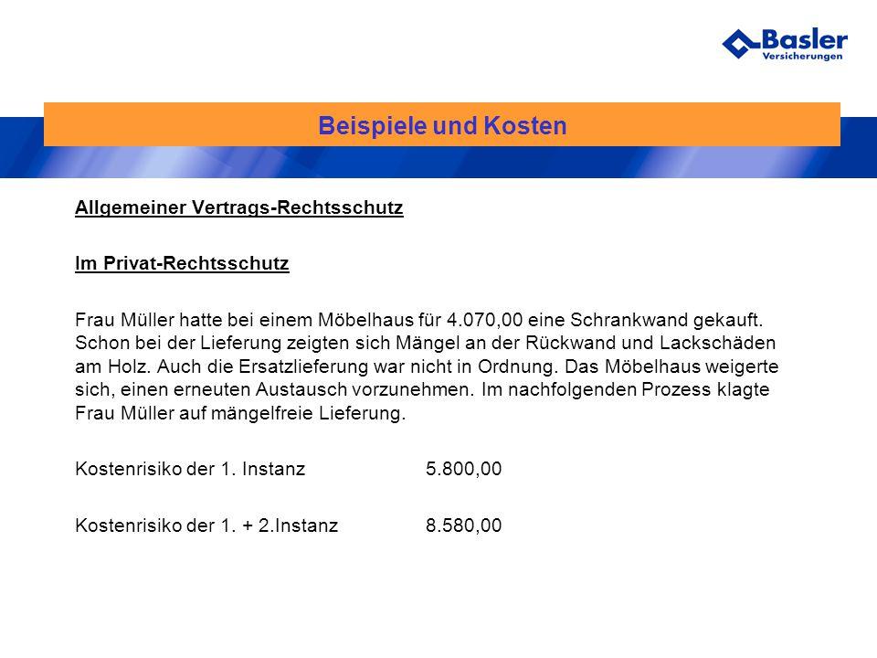 Beispiele und Kosten Allgemeiner Vertrags-Rechtsschutz Im Privat-Rechtsschutz Frau Müller hatte bei einem Möbelhaus für 4.070,00 eine Schrankwand geka