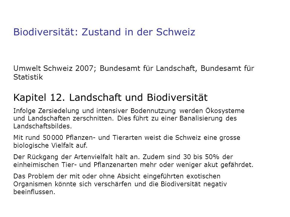 Biodiversität: Zustand in der Schweiz Umwelt Schweiz 2007; Bundesamt für Landschaft, Bundesamt für Statistik Kapitel 12. Landschaft und Biodiversität