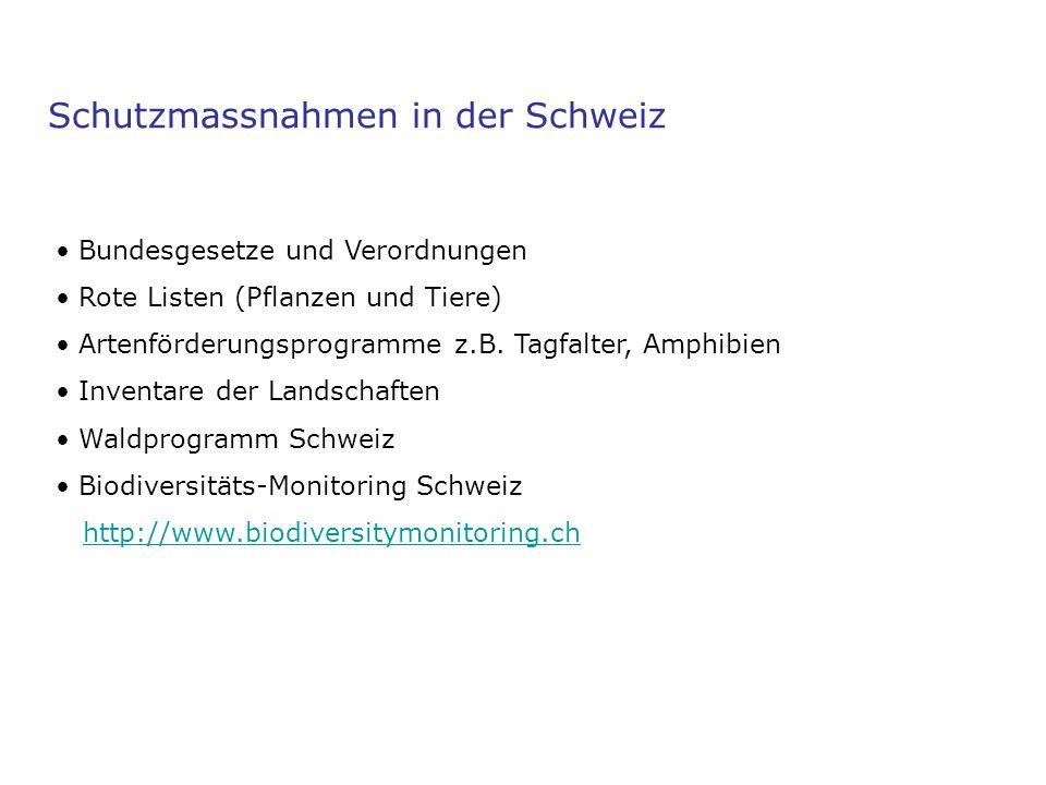 Schutzmassnahmen in der Schweiz Bundesgesetze und Verordnungen Rote Listen (Pflanzen und Tiere) Artenförderungsprogramme z.B. Tagfalter, Amphibien Inv