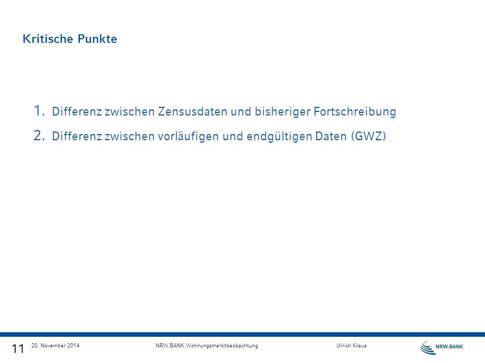 11 20. November 2014NRW.BANK WohnungsmarktbeobachtungUlrich Kraus Kritische Punkte 1. Differenz zwischen Zensusdaten und bisheriger Fortschreibung 2.