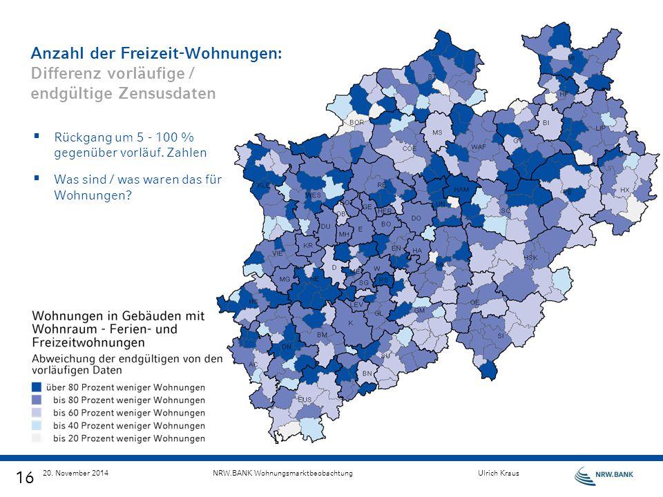 16 20. November 2014NRW.BANK WohnungsmarktbeobachtungUlrich Kraus Anzahl der Freizeit-Wohnungen: Differenz vorläufige / endgültige Zensusdaten  Rückg