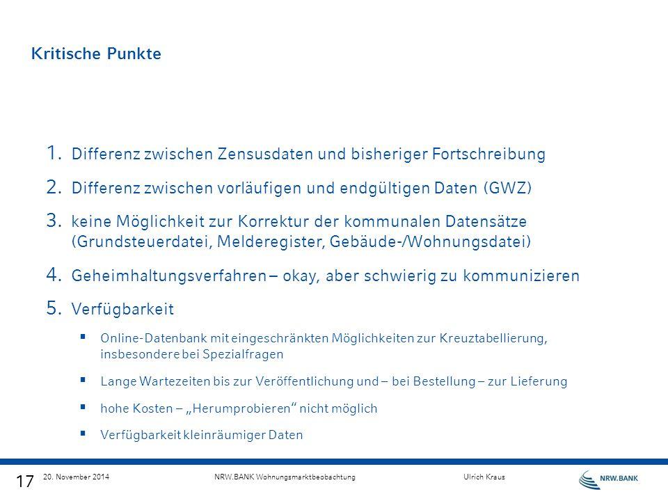 17 20. November 2014NRW.BANK WohnungsmarktbeobachtungUlrich Kraus Kritische Punkte 1. Differenz zwischen Zensusdaten und bisheriger Fortschreibung 2.