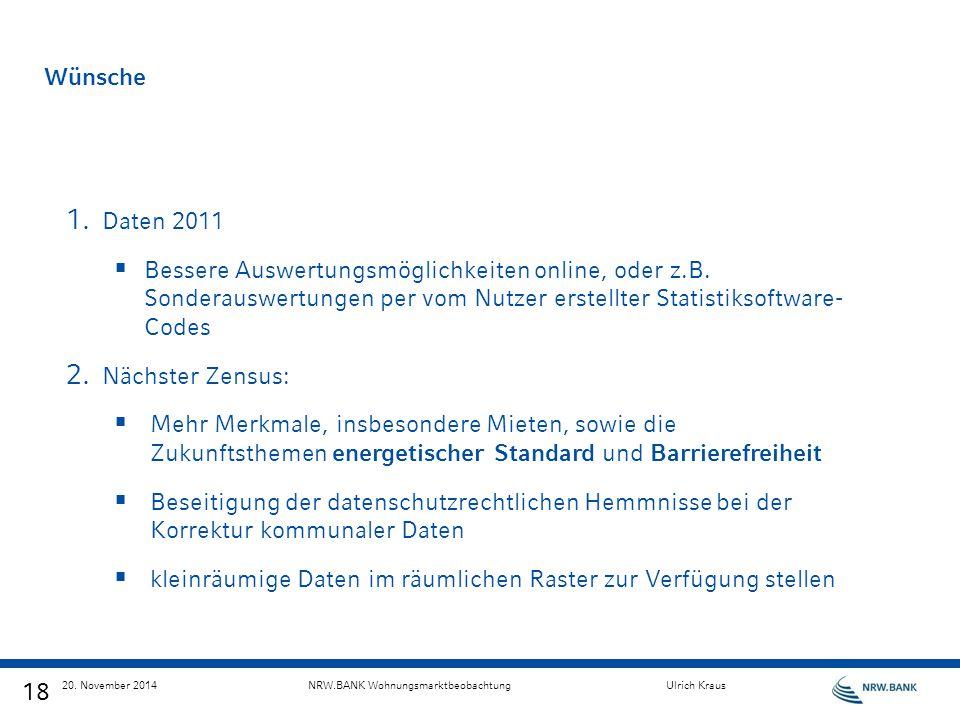 18 20. November 2014NRW.BANK WohnungsmarktbeobachtungUlrich Kraus Wünsche 1. Daten 2011  Bessere Auswertungsmöglichkeiten online, oder z.B. Sonderaus