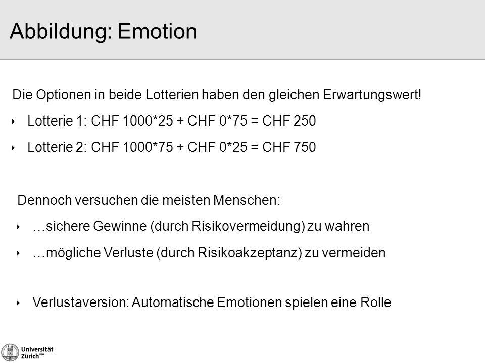 Abbildung: Emotion Die Optionen in beide Lotterien haben den gleichen Erwartungswert!  Lotterie 1: CHF 1000*25 + CHF 0*75 = CHF 250  Lotterie 2: CHF