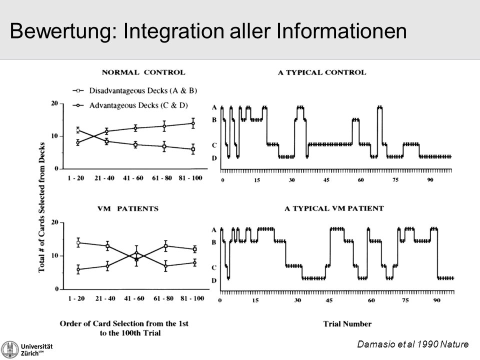 Bewertung: Integration aller Informationen Damasio et al 1990 Nature