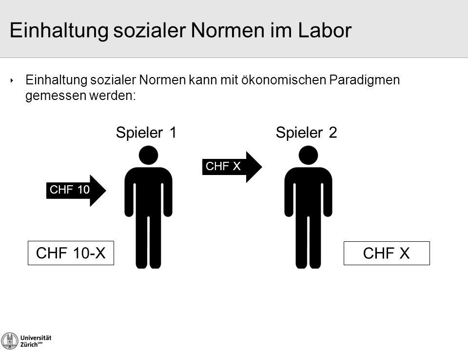  Einhaltung sozialer Normen kann mit ökonomischen Paradigmen gemessen werden: CHF 10 Spieler 1 CHF 10-X Spieler 2 CHF X Einhaltung sozialer Normen im
