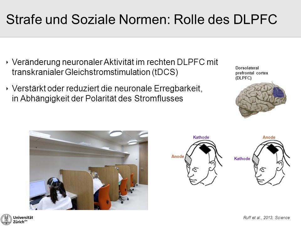 ‣ Veränderung neuronaler Aktivität im rechten DLPFC mit transkranialer Gleichstromstimulation (tDCS) ‣ Verstärkt oder reduziert die neuronale Erregbar