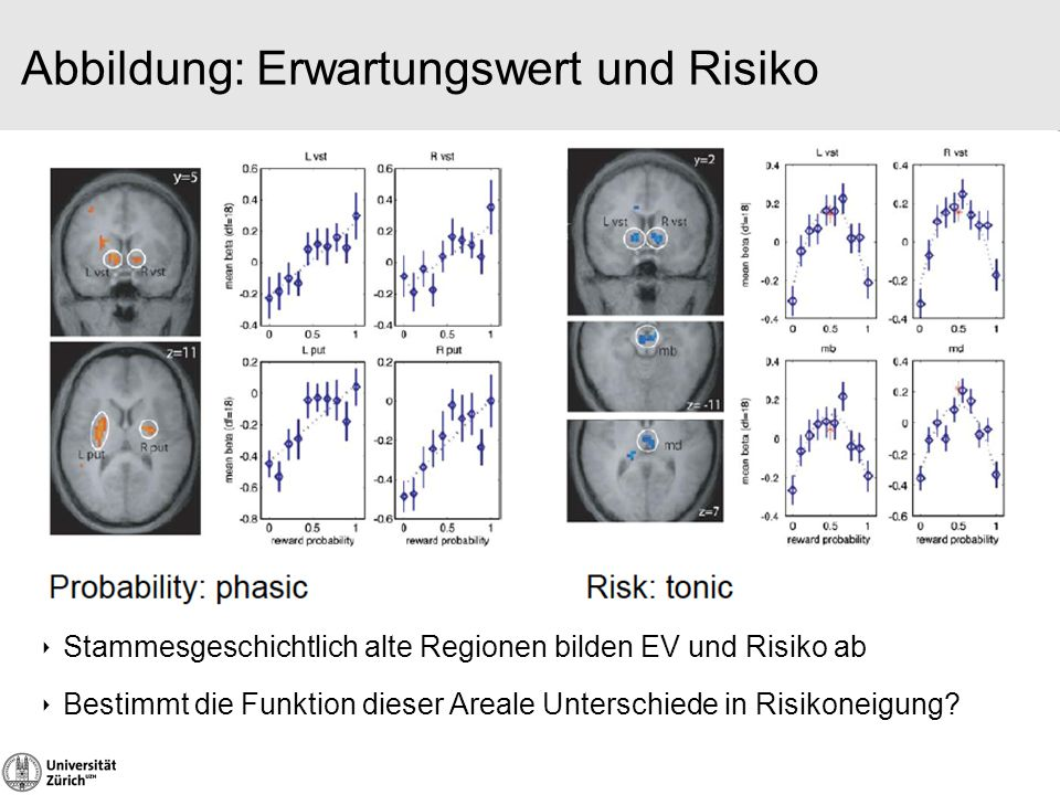 Abbildung: Erwartungswert und Risiko ‣ Stammesgeschichtlich alte Regionen bilden EV und Risiko ab ‣ Bestimmt die Funktion dieser Areale Unterschiede i