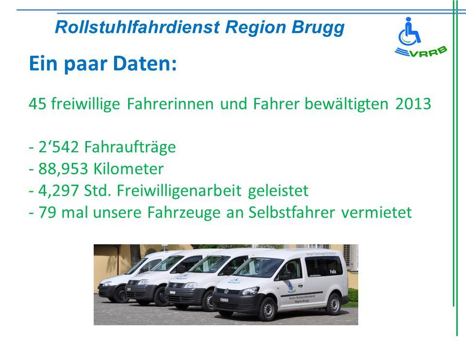 Ein paar Daten: 45 freiwillige Fahrerinnen und Fahrer bewältigten 2013 - 2'542 Fahraufträge - 88'953 Kilometer - 4'297 Std.