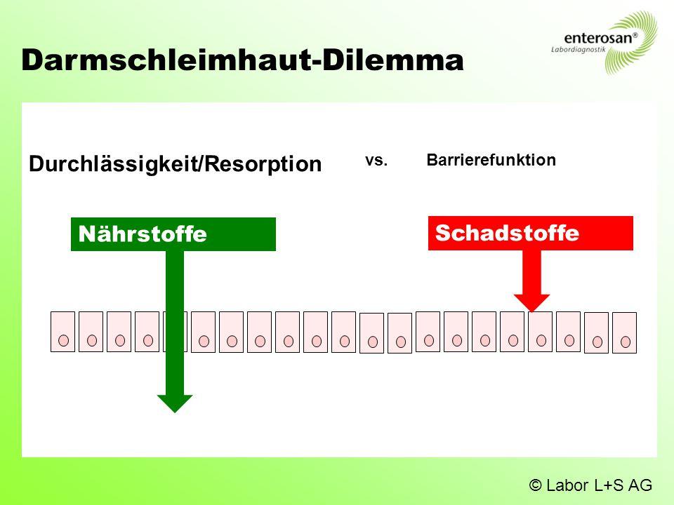 Darmschleimhaut-Dilemma Nährstoffe Durchlässigkeit/Resorption Schadstoffe vs. Barrierefunktion © Labor L+S AG