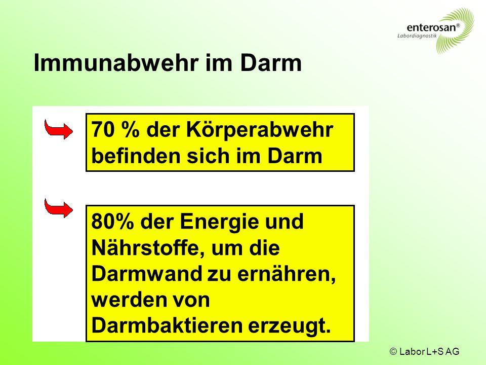 © Labor L+S AG 70 % der Körperabwehr befinden sich im Darm 80% der Energie und Nährstoffe, um die Darmwand zu ernähren, werden von Darmbaktieren erzeu