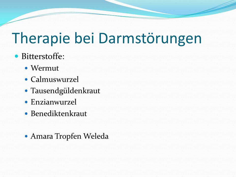 Therapie bei Darmstörungen Bitterstoffe: Wermut Calmuswurzel Tausendgüldenkraut Enzianwurzel Benediktenkraut Amara Tropfen Weleda