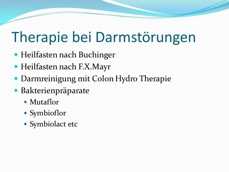 Therapie bei Darmstörungen Heilfasten nach Buchinger Heilfasten nach F.X.Mayr Darmreinigung mit Colon Hydro Therapie Bakterienpräparate Mutaflor Symbi