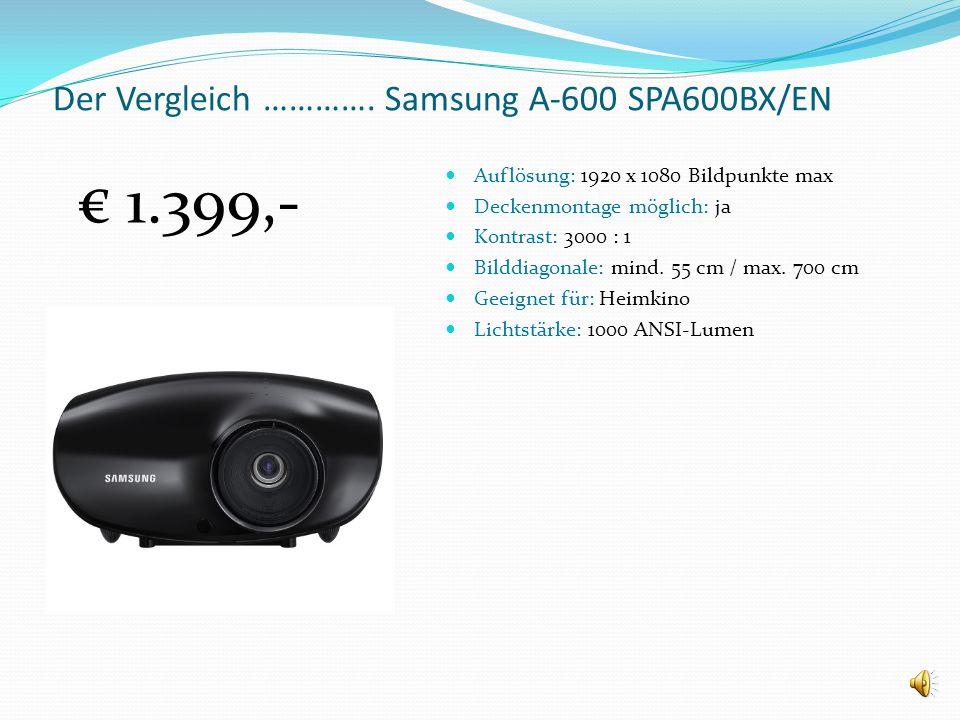 Der Vergleich ………….ACER x 100 Auflösung: 800 x 600 Bildpunkte max. Deckenmontage möglich: nein Kontrast: 4000 : 1 Bilddiagonale: mind. 58 cm / max. 76