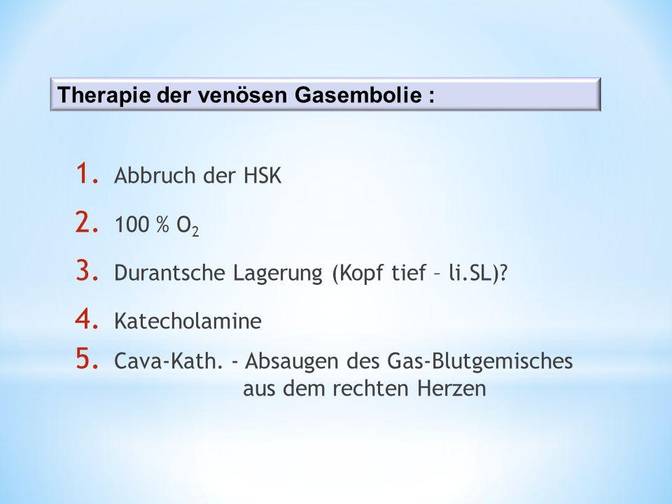 1. Abbruch der HSK 2. 100 % O 2 3. Durantsche Lagerung (Kopf tief – li.SL)? 4. Katecholamine 5. Cava-Kath. - Absaugen des Gas-Blutgemisches aus dem re