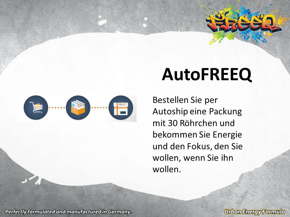 AutoFREEQ Bestellen Sie per Autoship eine Packung mit 30 Röhrchen und bekommen Sie Energie und den Fokus, den Sie wollen, wenn Sie ihn wollen.