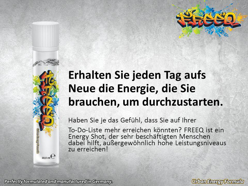 FREEQ ist ein ernährungsfokussierter Energy Shot, der erst kurz vor dem Trinken zusammengemischt wird und ein völlig neues Energieniveau bietet.