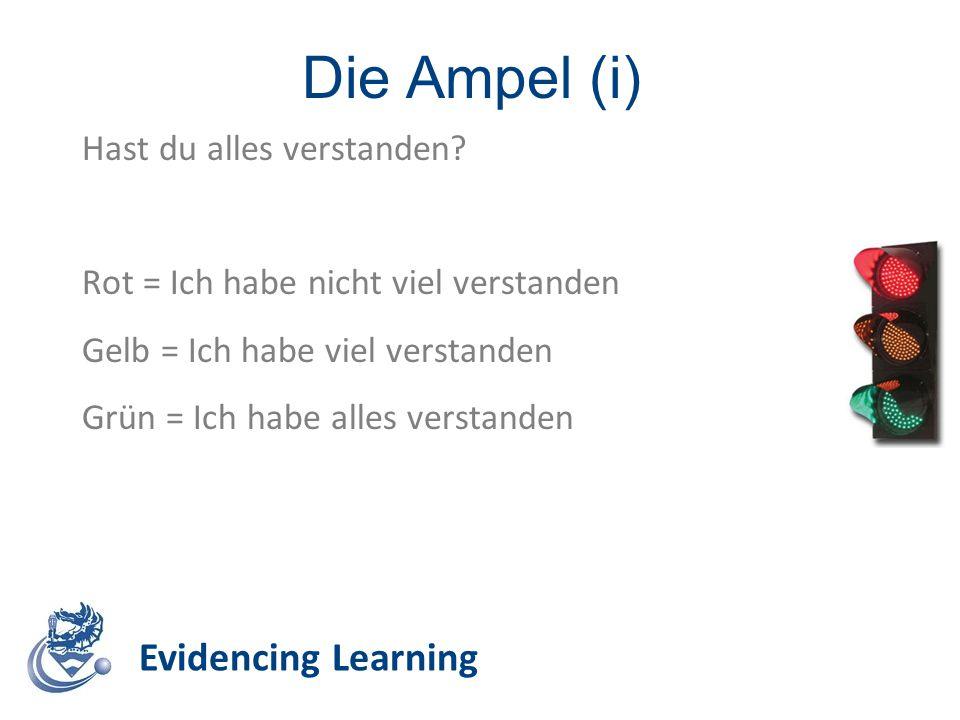 Die Ampel (i) Evidencing Learning Hast du alles verstanden? Rot = Ich habe nicht viel verstanden Gelb = Ich habe viel verstanden Grün = Ich habe alles