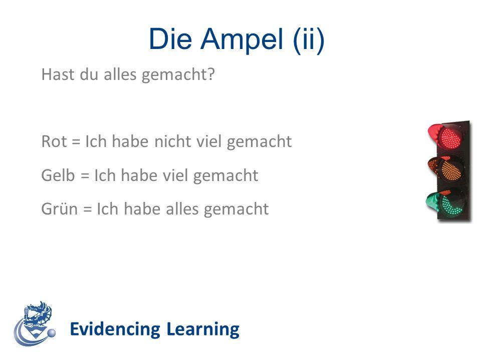 Die Ampel (ii) Evidencing Learning Hast du alles gemacht? Rot = Ich habe nicht viel gemacht Gelb = Ich habe viel gemacht Grün = Ich habe alles gemacht