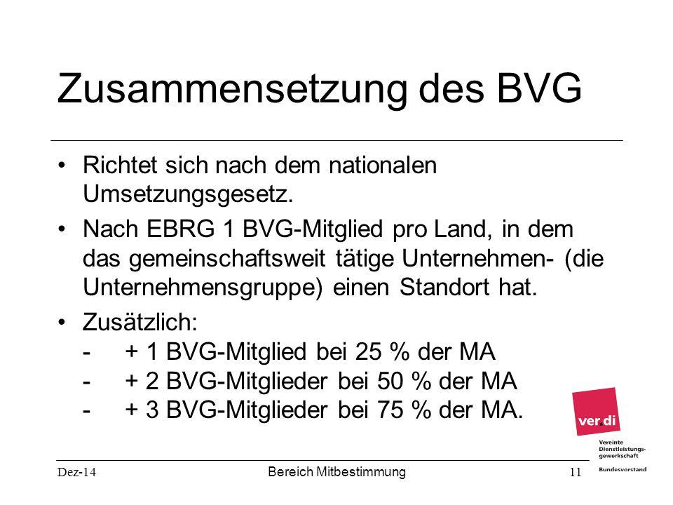 Dez-14 Bereich Mitbestimmung 11 Zusammensetzung des BVG Richtet sich nach dem nationalen Umsetzungsgesetz. Nach EBRG 1 BVG-Mitglied pro Land, in dem d