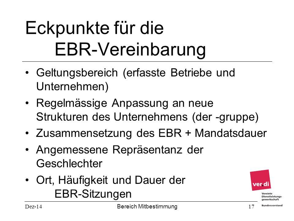 Dez-14 Bereich Mitbestimmung 17 Eckpunkte für die EBR-Vereinbarung Geltungsbereich (erfasste Betriebe und Unternehmen) Regelmässige Anpassung an neue